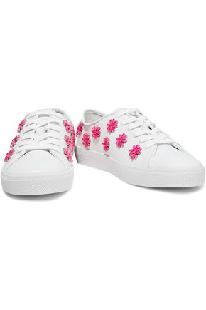 491a6731ee4e ALICE + OLIVIA Crystal-embellished leather sneakers