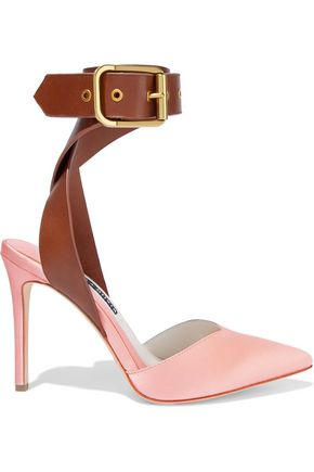 ALICE + OLIVIA JEANS Rachelle leather-trimmed satin pumps