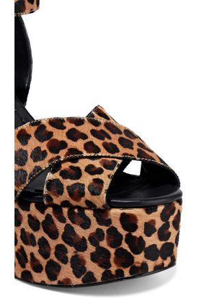 ALICE + OLIVIA Violet leopard-print calf hair wedge sandals