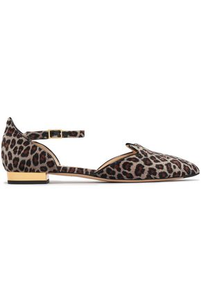 CHARLOTTE OLYMPIA Kitty animal-print embroidered pointed-toe flats