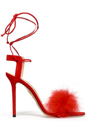 CHARLOTTE OLYMPIA Feather-embellished suede sandals