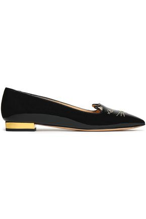 CHARLOTTE OLYMPIA Embroidered patent-leather point-toe flats