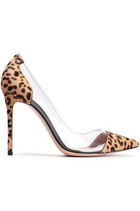GIANVITO ROSSI PVC and leopard-print calf hair pumps