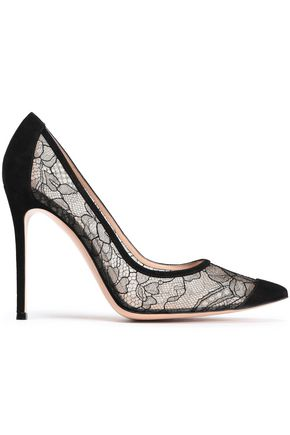 GIANVITO ROSSI Suede-trimmed lace pumps