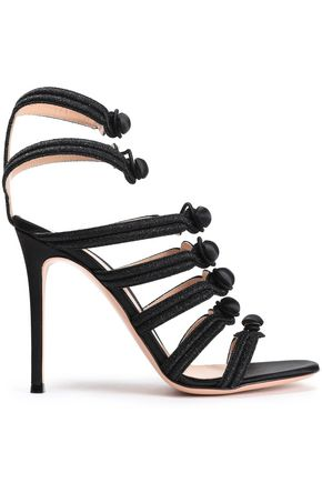 GIANVITO ROSSI Button-detailed metallic satin sandals