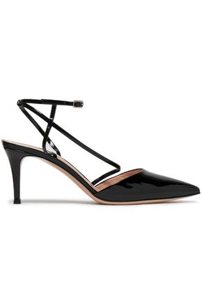 GIANVITO ROSSI Carlyle patent-leather slingback pumps