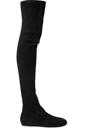 ALAÏA Bead-embellished stretch-suede over-the-knee boots