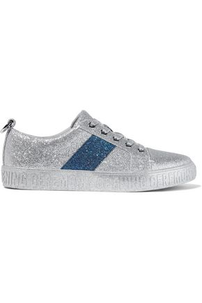 Opening Ceremony OPENING CEREMONY WOMAN GLITTERED FAUX LEATHER SNEAKERS SILVER