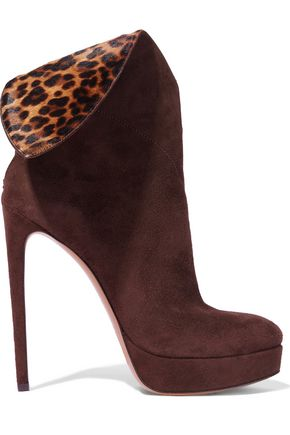 ALAÏA Leopard-print calf hair and suede platform ankle boots