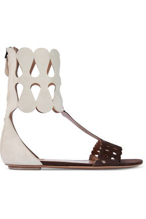 ALAÏA Color-block laser-cut suede sandals