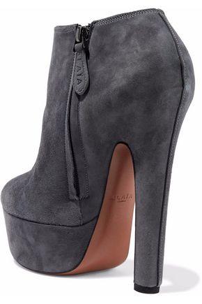ALAÏA Suede platform ankle boots