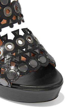 ALAÏA Embellished laser-cut leather platform sandals