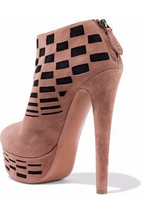 ALAÏA Laser-cut suede platform ankle boots