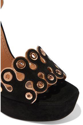 ALAÏA Eyelet-embellished scalloped suede platform sandals