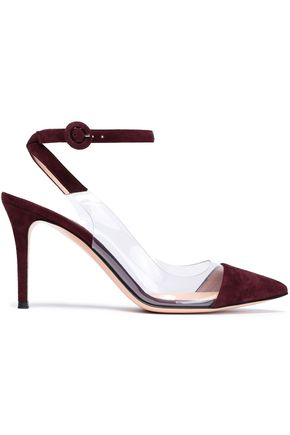 GIANVITO ROSSI Anise suede and Perspex pumps