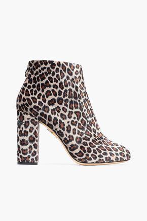 CHARLOTTE OLYMPIA Alba animal-print velvet ankle boots