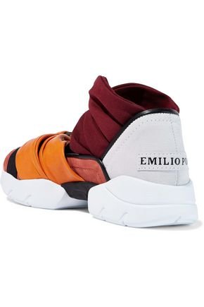 EMILIO PUCCI Twisted color-block jersey, leather and suede slip-on sneakers
