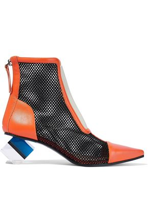 EMILIO PUCCI Color-block mesh, leather and Perspex ankle boots