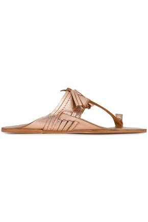 ANTIK BATIK Kiki tasseled metallic leather sandals