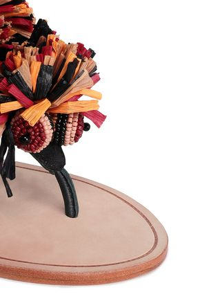ANTIK BATIK Rio beaded raffia-trimmed suede sandals