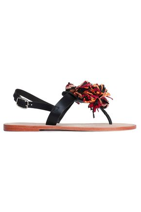 ANTIK BATIK Rio beaded raffia-trimmed suede sandals