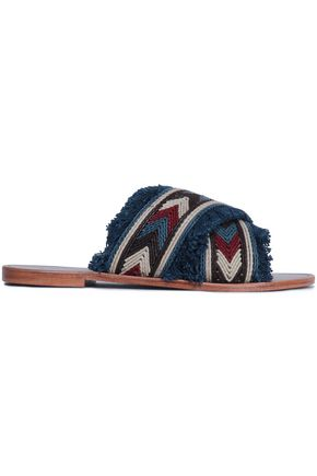 ANTIK BATIK Tiki fringed embroidered leather slides