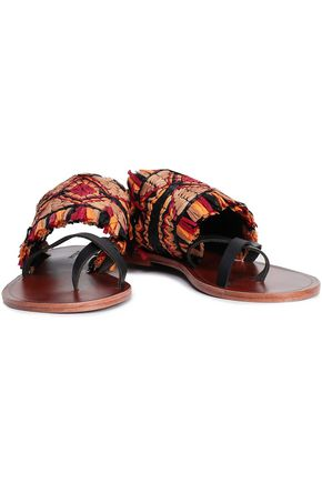 ANTIK BATIK Hedia raffia and leather sandals