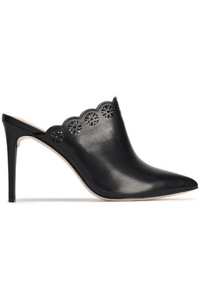 RACHEL ZOE Graysen laser-cut leather mules