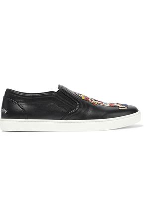 DOLCE & GABBANA Appliquéd leather slip-on sneakers