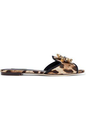 DOLCE & GABBANA Bianca crystal-embellished leopard-print satin slides