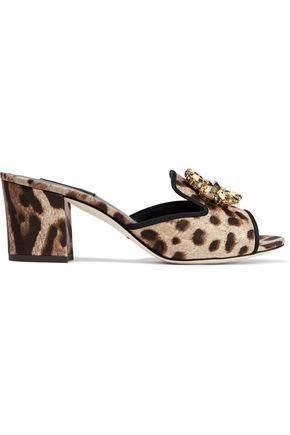 DOLCE & GABBANA Crystal-embellished leopard-print satin mules