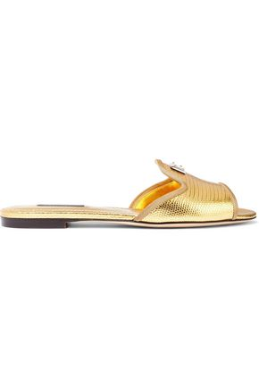 DOLCE & GABBANA Metallic lizard-effect leather slides
