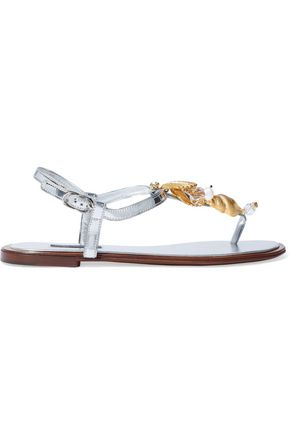 DOLCE & GABBANA Embellished metallic leather sandals