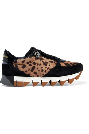 DOLCE & GABBANA Patent-leather and suede-trimed leopard-print shell sneakers