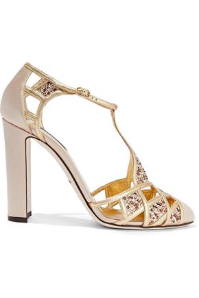DOLCE & GABBANA Embellished satin and metallic leather pumps