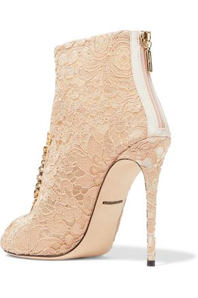 DOLCE & GABBANA Embellished lace ankle boots
