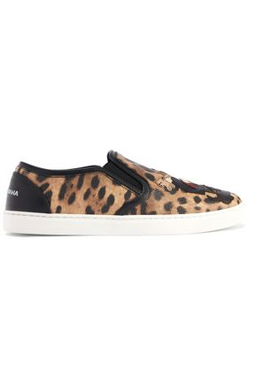 DOLCE & GABBANA Appliquéd leopard-print textured-leather slip-on sneakers