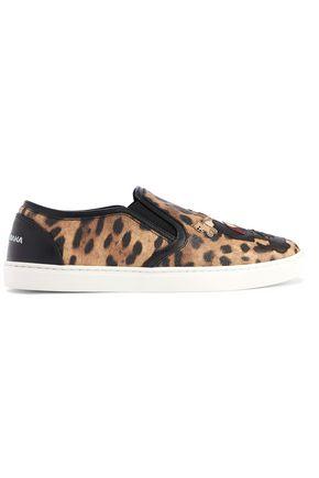 DOLCE & GABBANA Appliquéd leopard-print textured-leather slip-on sneakers