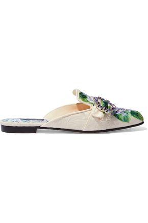 DOLCE & GABBANA Embellished floral-print jacquard slippers