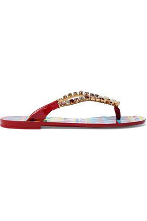 DOLCE & GABBANA Embellished rubber flip flops