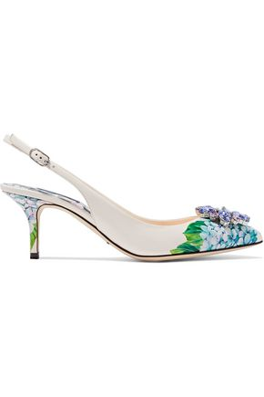 DOLCE & GABBANA Embellished floral-print leather slingback pumps