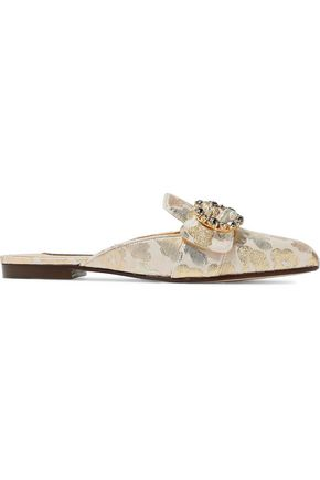 DOLCE & GABBANA Crystal-embellished buckled brocade slippers