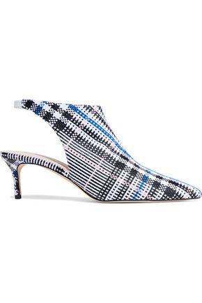 CHRISTOPHER KANE Leather-trimmed checked jacquard slingback pumps