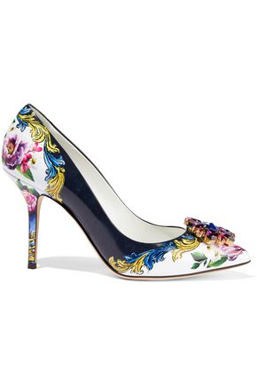 DOLCE & GABBANA Crystal-embellished floral-print glossed-leather pumps