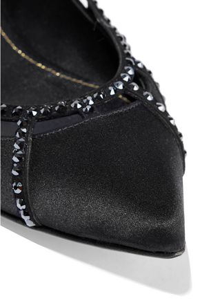 SERGIO ROSSI Crystal-embellished suede-trimmed satin point-toe flats