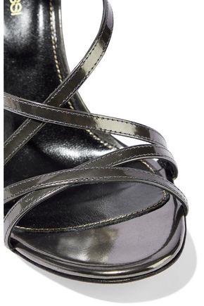 SERGIO ROSSI Mirrored-leather sandals