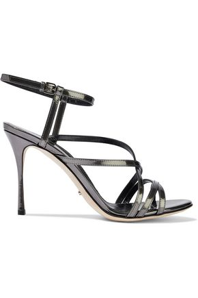 SERGIO ROSSI Mirrored-leather sandals
