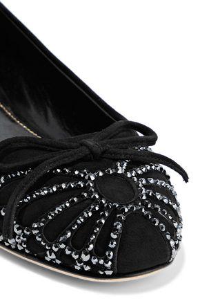 SERGIO ROSSI Crystal-embellished suede ballet flats