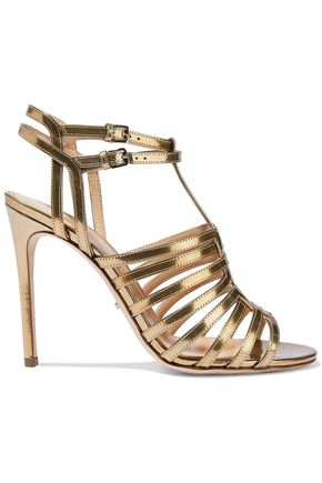SERGIO ROSSI Metallic cutout leather sandals
