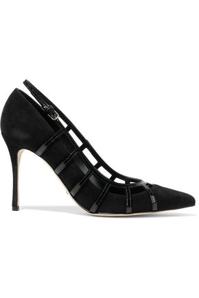 SERGIO ROSSI Cutout patent-leather and suede pumps